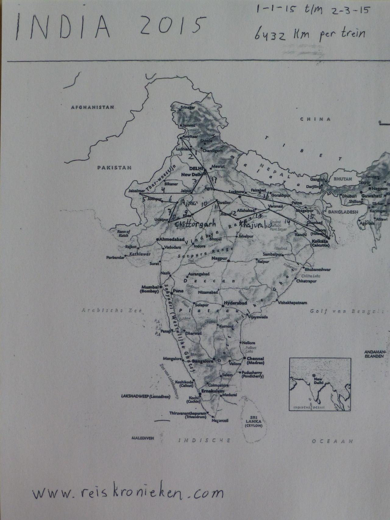 Treinreis India 2015: Route, agenda,etappes