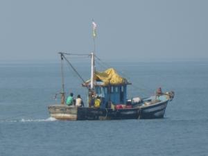 Een vissersboot aan de kust van Goa